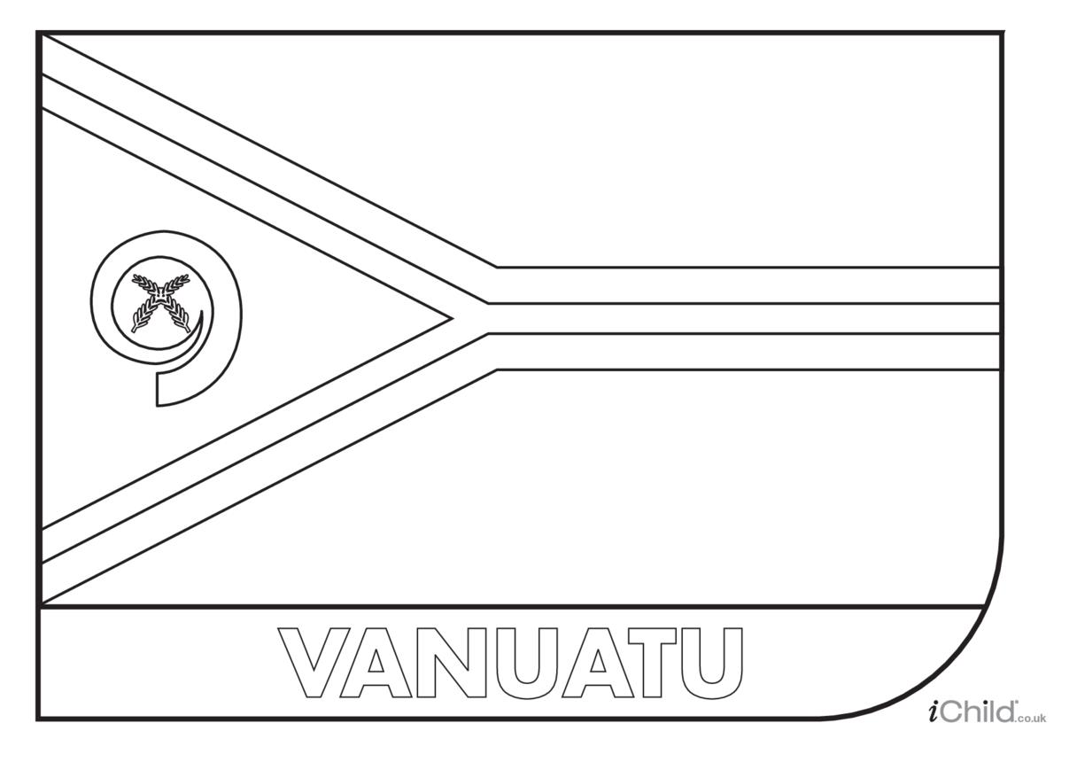 Vanuatu Flag Colouring in Picture (flag of Vanuatu)