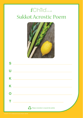 Thumbnail image for the Sukkot Acrostic Poem activity.
