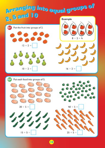 Thumbnail image for the Collins Easy Learning KS1 Maths Division, Arranging into groups of 2, 5 and 10 activity.