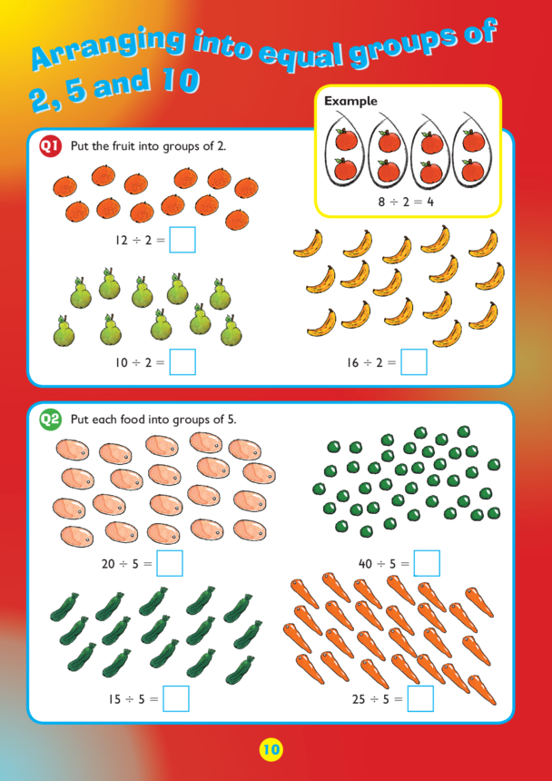 Collins Easy Learning KS1 Maths Division, Arranging into groups of 2, 5 and 10