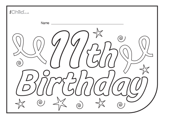 Thumbnail image for the Birthday Party Place Mats for a 11 year old's 11th birthday activity.