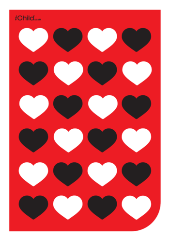Thumbnail image for the Contrasting Colours: Red, White & Black Hearts Pattern activity.