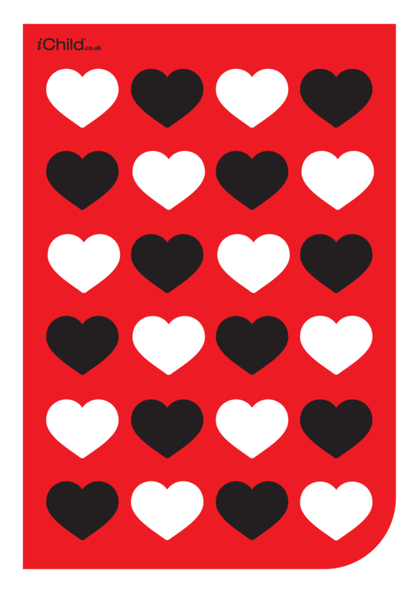 Contrasting Colours: Red, White & Black Hearts Pattern