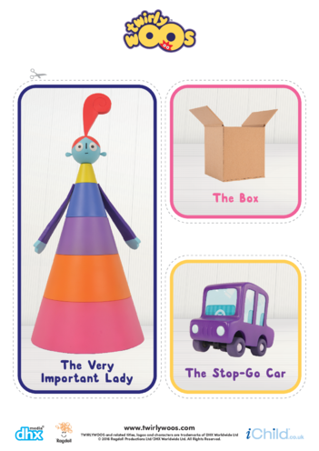 Thumbnail image for the The Very Important Lady, The Box & The Stop-Go Car Cut-out activity.