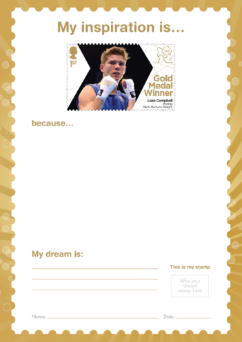 Thumbnail image for the My Inspiration Is- Luke Campbell- Gold Medal Winner Stamp Template activity.