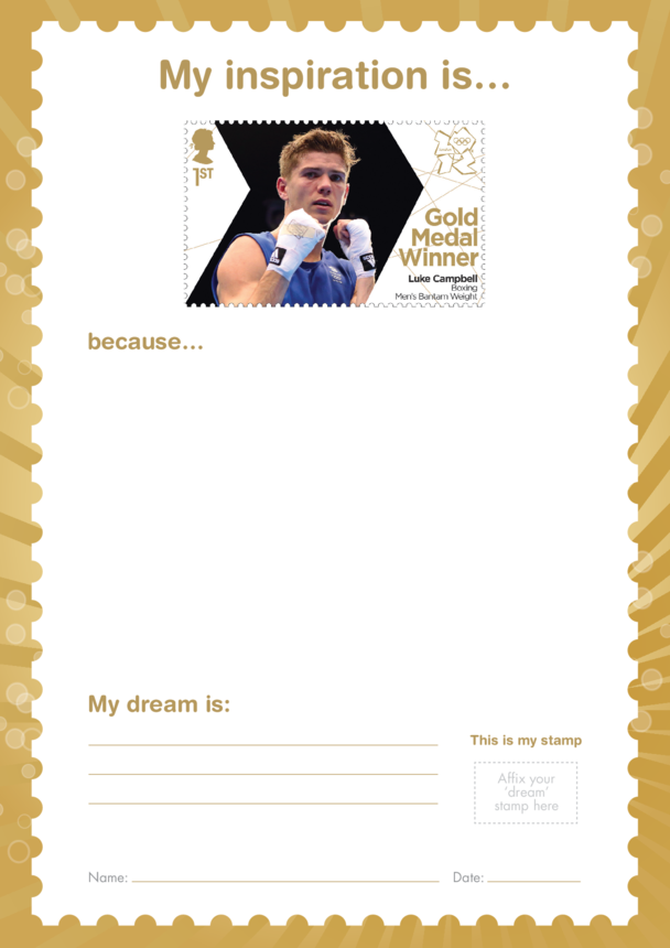 My Inspiration Is- Luke Campbell- Gold Medal Winner Stamp Template