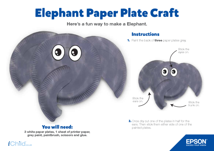 Thumbnail image for the Epson Elephant Paper Plate Craft activity.