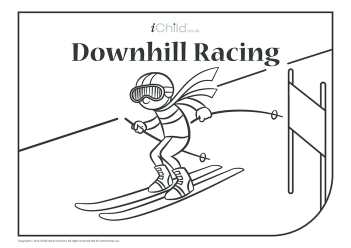 Thumbnail image for the Downhill Racing Colouring in Picture activity.