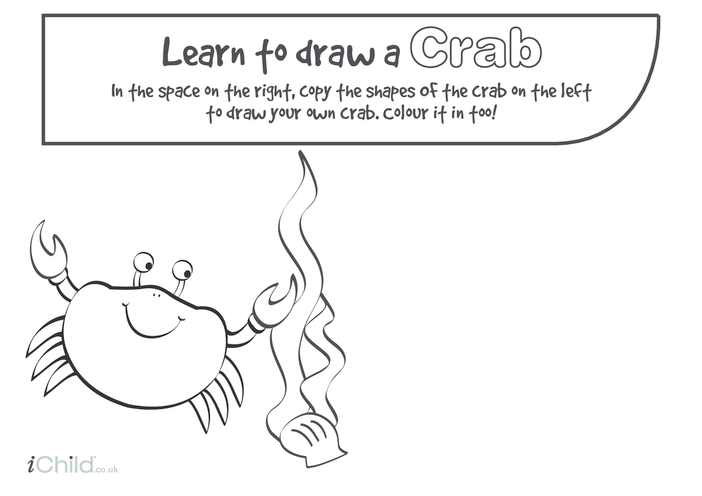 Thumbnail image for the Learn to Draw a Crab activity.