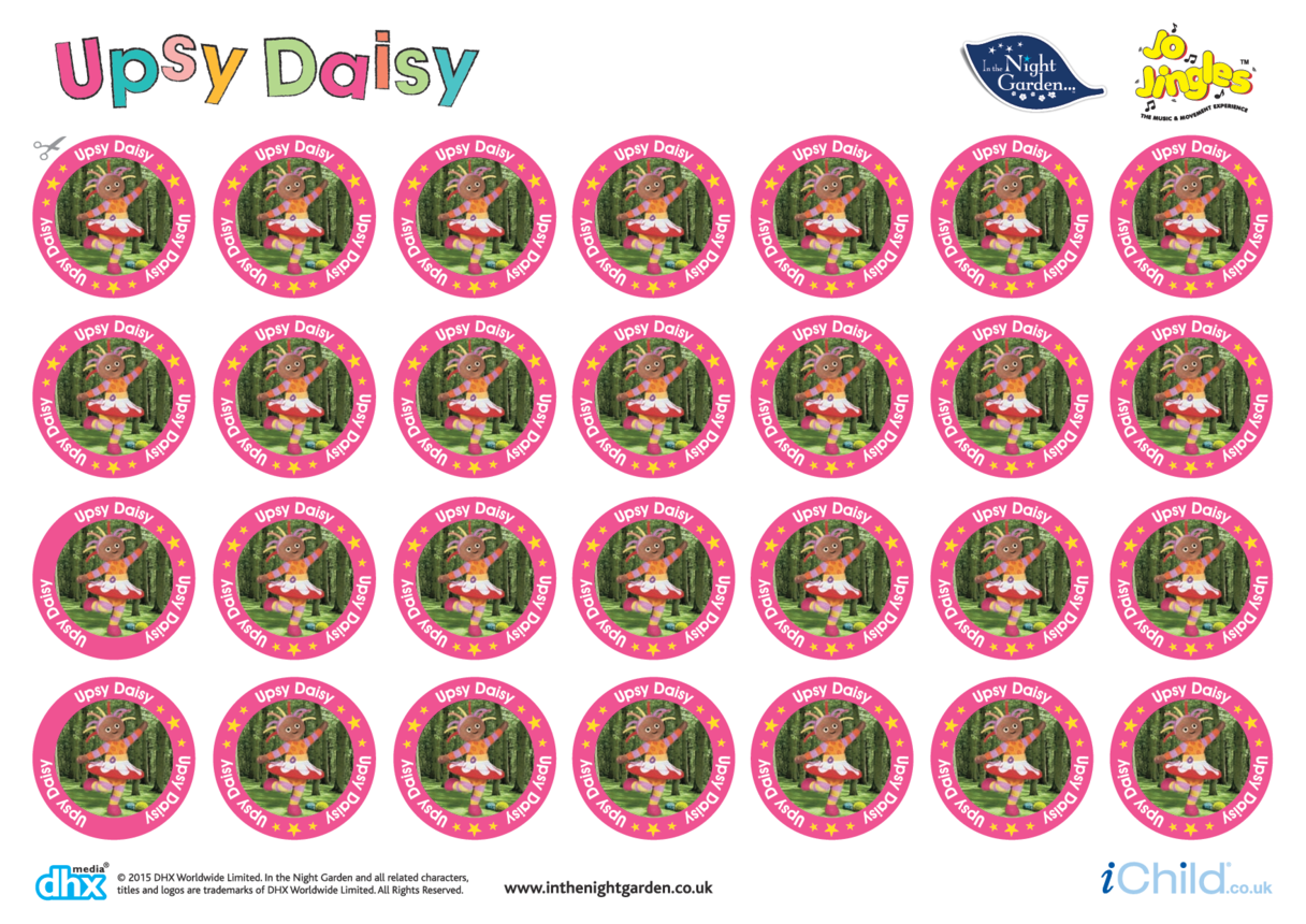 In the Night Garden Sticker Sheet: Upsy Daisy