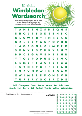Thumbnail image for the Wimbledon Wordsearch activity.