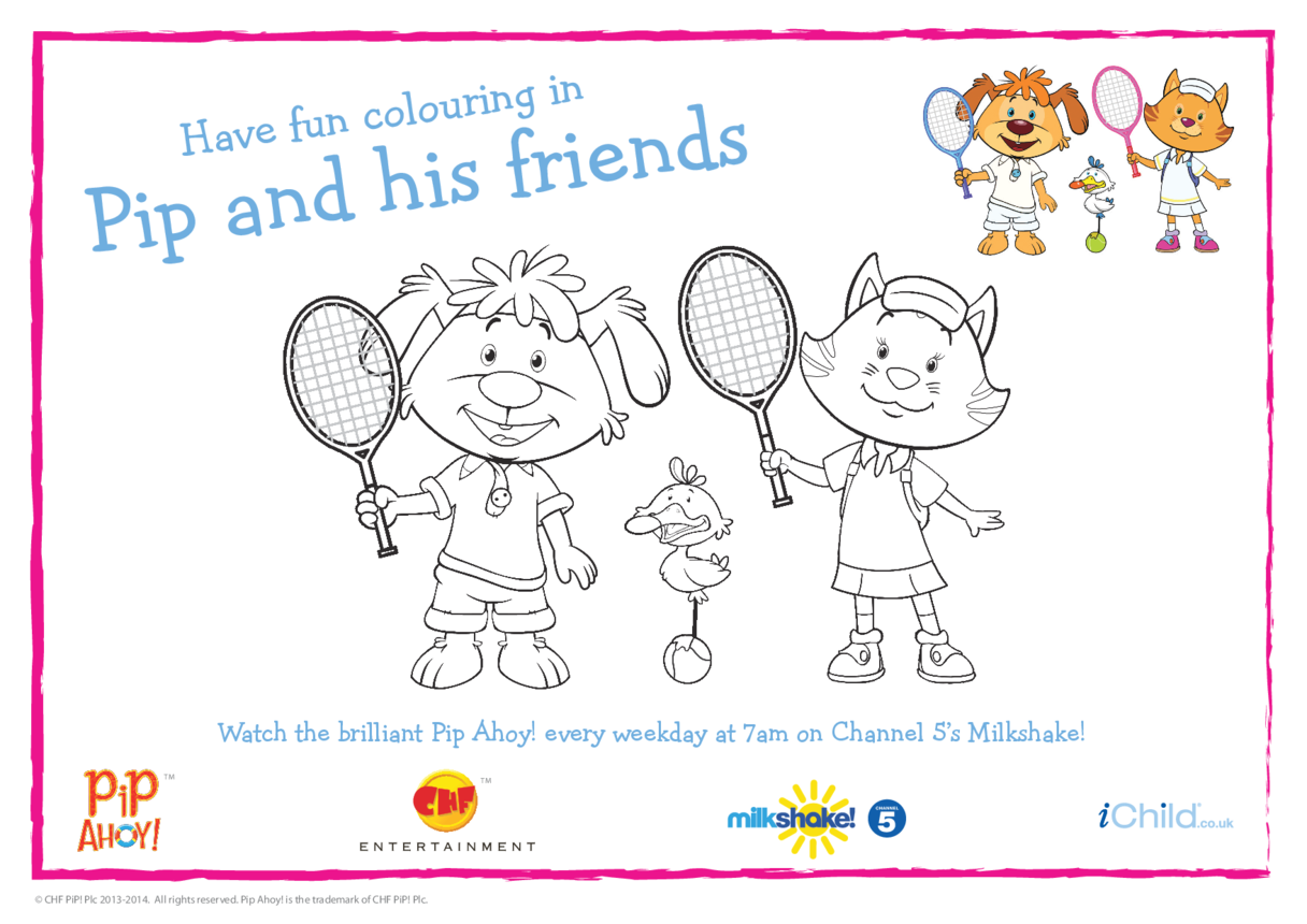 Pip & Alba Tennis Colouring in Picture (Pip Ahoy!)