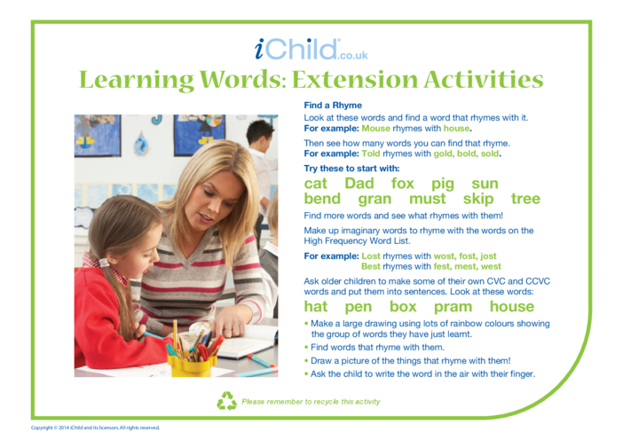 Thumbnail image for the Learning Words: Extension Activity activity.
