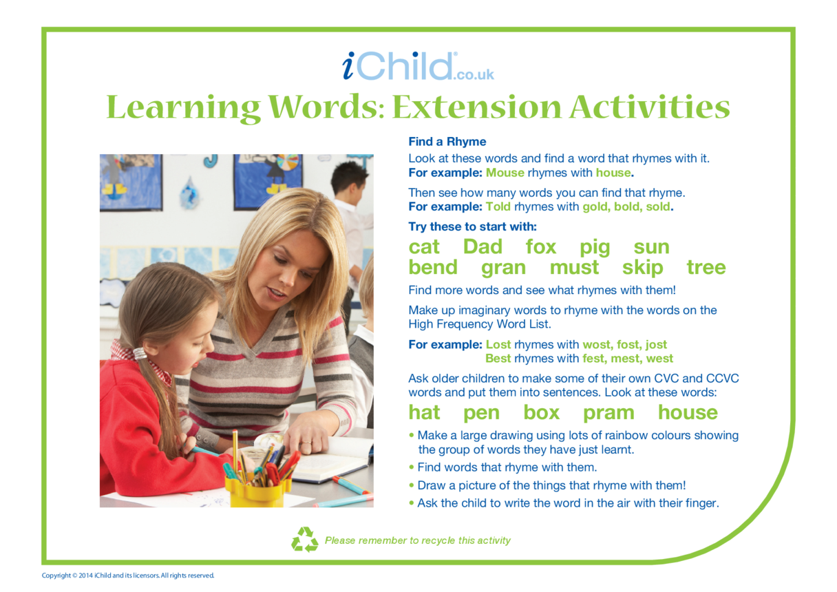 Learning Words: Extension Activity