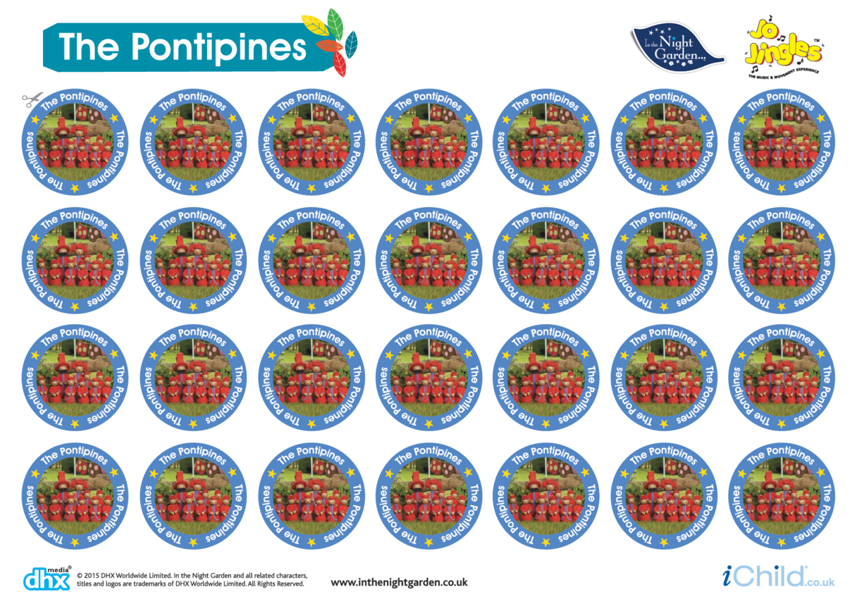 In the Night Garden Sticker Sheet: The Pontipines