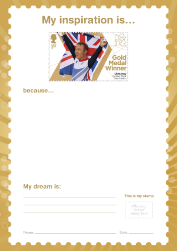 Thumbnail image for the My Inspiration Is- Chris Hoy- Gold Medal Winner Stamp Template activity.