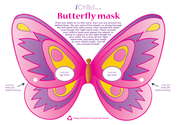 Thumbnail image for the Butterfly Mask (Pink) activity.