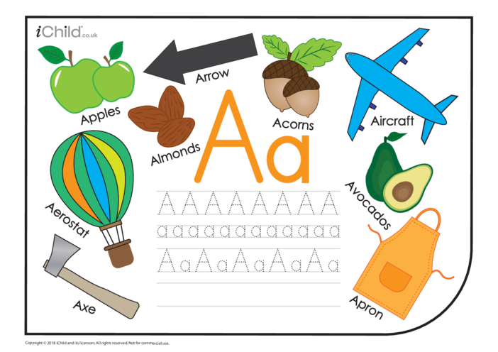 Thumbnail image for the A: Writing the letter Aa activity.