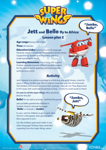 Thumbnail image for the Super Wings: Lesson Plan 2, Jett and Bello fly to Africa activity.