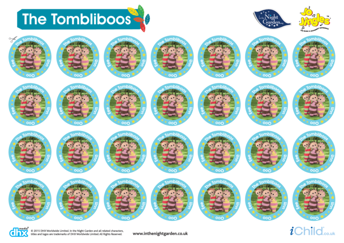 Thumbnail image for the In the Night Garden Sticker Sheet: The Tombliboos activity.