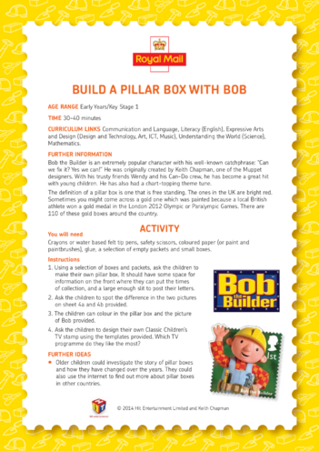 Thumbnail image for the Bob the Builder: Build A Pillar Box With Bob Lesson Plan (EYFS/KS1) activity.