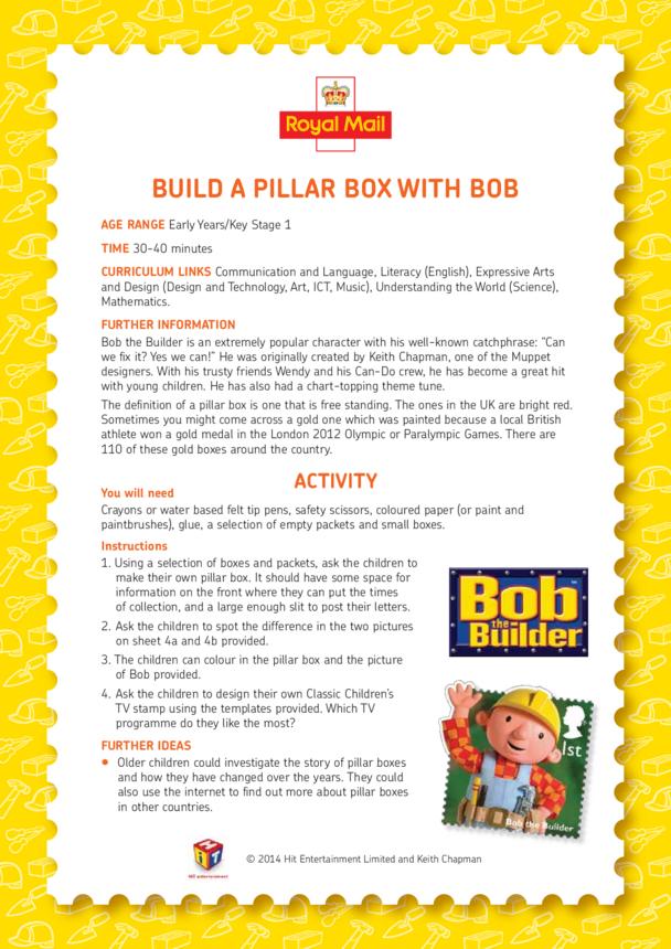 Bob the Builder: Build A Pillar Box With Bob Lesson Plan (EYFS/KS1)