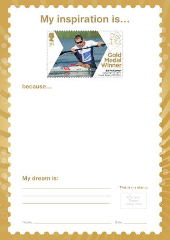 Thumbnail image for the My Inspiration Is- Ed McKeever- Gold Medal Winner Stamp Template activity.