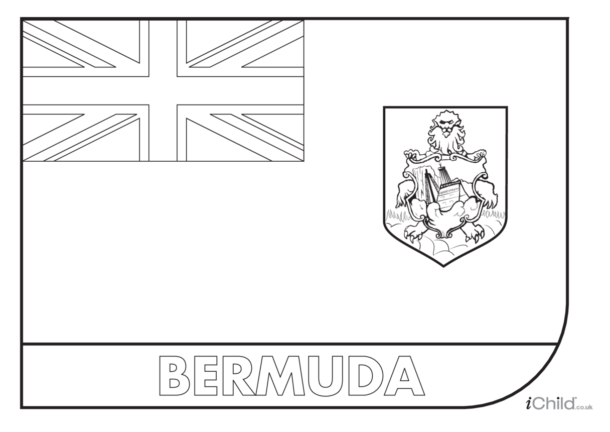 Bermuda Flag Colouring in Picture (flag of Bermuda)