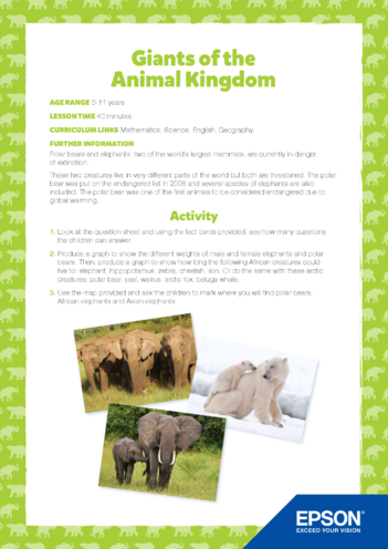 Thumbnail image for the Primary 1) Giants of the Animal Kingdom Lesson Plan activity.
