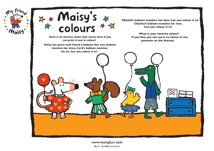 Thumbnail image for the Maisy Party Kit: Matching Colours activity.