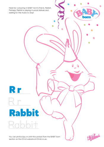 Thumbnail image for the 2021 BABY born Rabbit Colouring in Picture activity.
