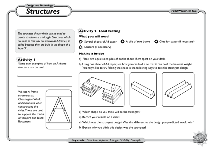 Thumbnail image for the D&T Structures: KS1 and KS2 activity.