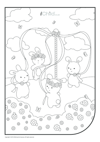 Thumbnail image for the May Day Colouring in Sheet activity.