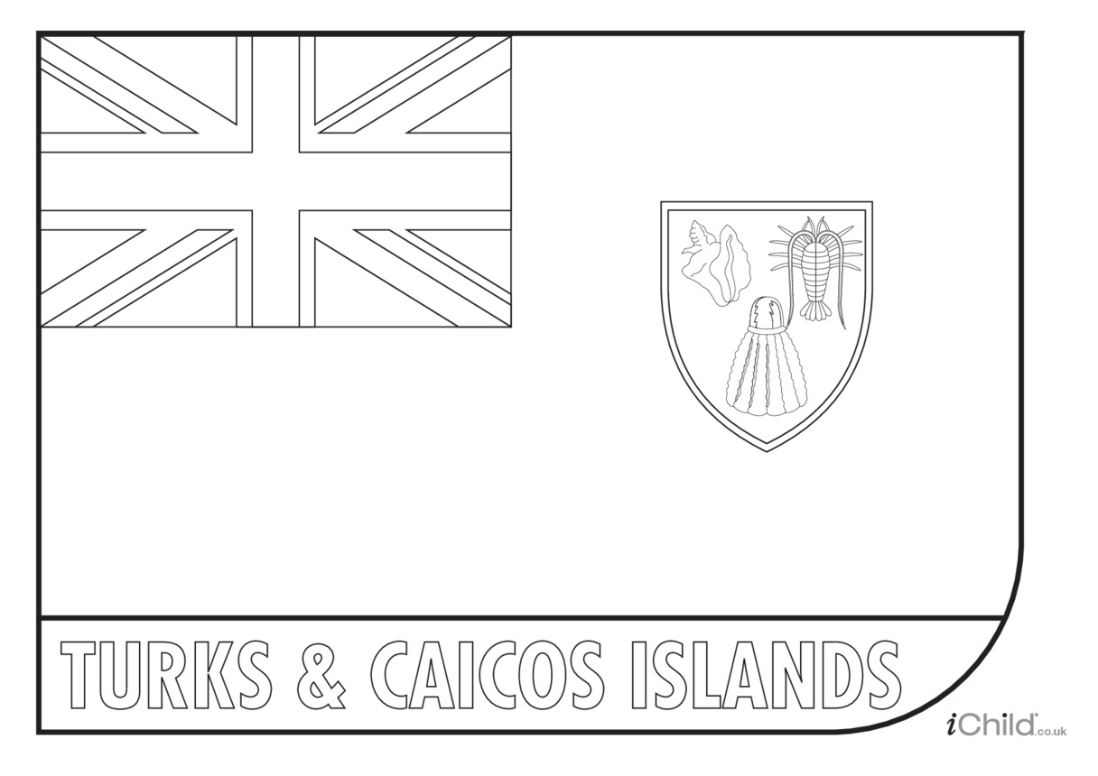 Turks & Caicos Islands Flag Colouring in Picture (flag of Turks and Caicos)