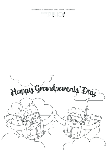 Thumbnail image for the Grandparents' Day Card (Skydivers! Black & White) activity.