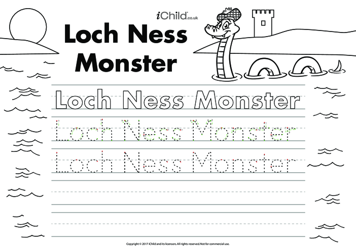 Thumbnail image for the Loch Ness Monster Handwriting Practice Sheet activity.