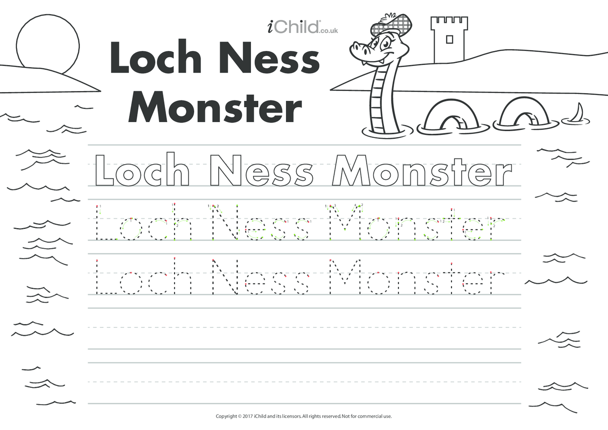 Loch Ness Monster Handwriting Practice Sheet