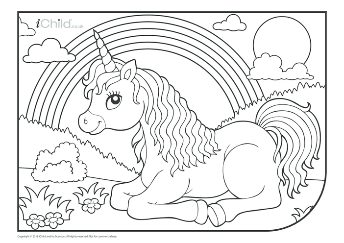 Thumbnail image for the Rainbow Unicorn Colouring in Picture activity.