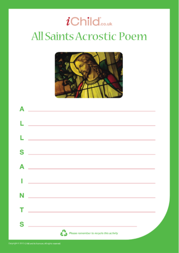 Thumbnail image for the All Saints' Day Acrostic Poem activity.