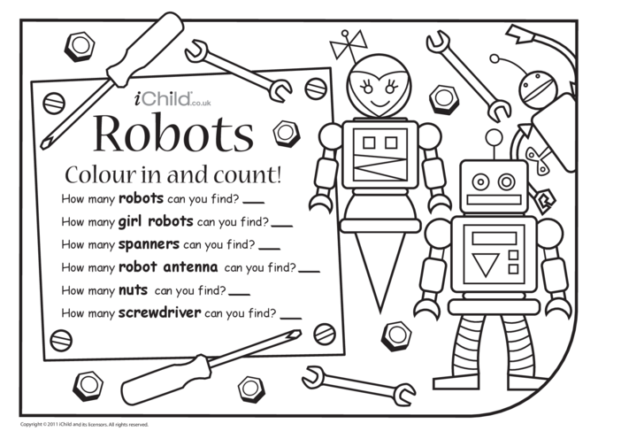 Thumbnail image for the Colour in & Count - Robot activity.