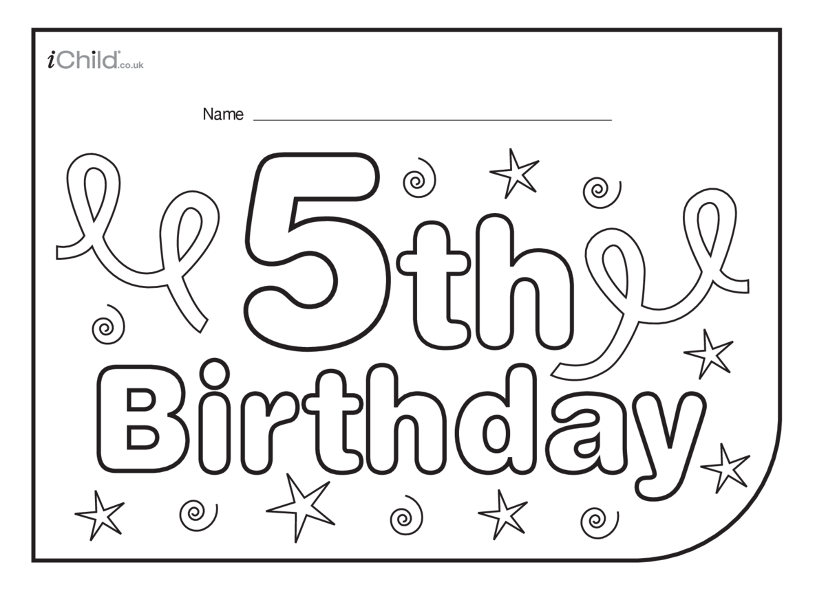 Birthday Party Place Mats for 5 year old 5th birthday