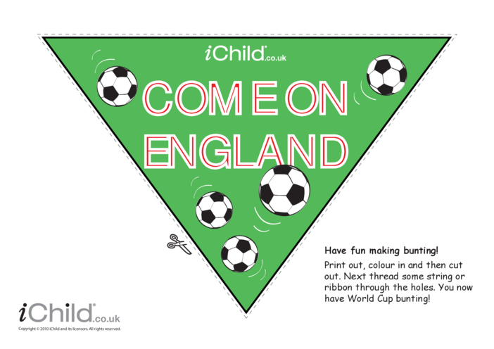 Thumbnail image for the Come on England! Bunting (colour) activity.