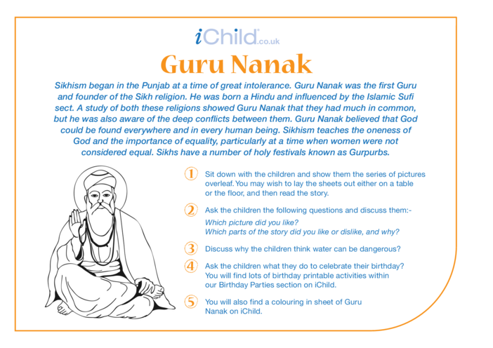 Thumbnail image for the Guru Nanak Religious Festival Story activity.