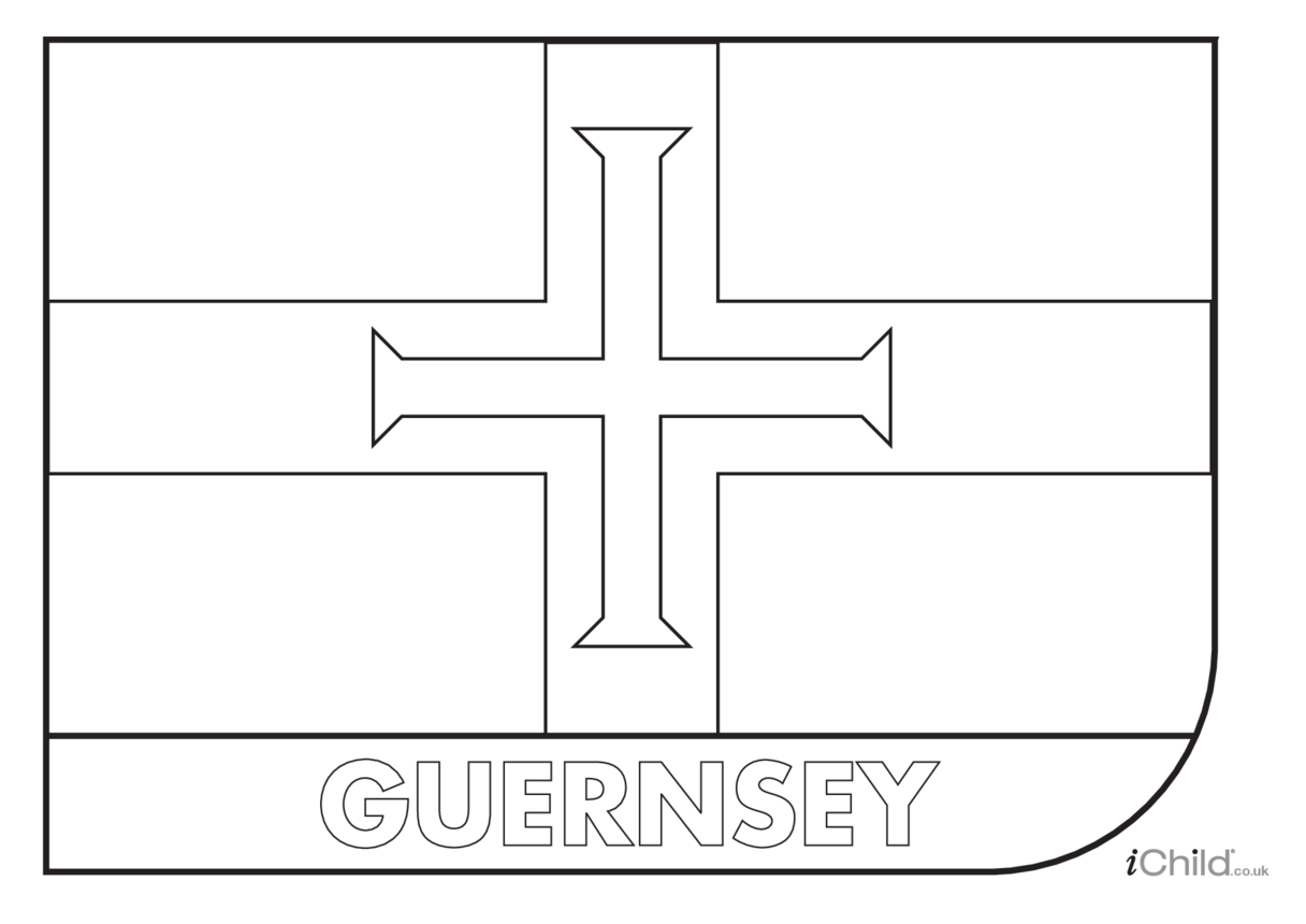 Guernsey Flag Colouring in Picture (flag of Guernsey)