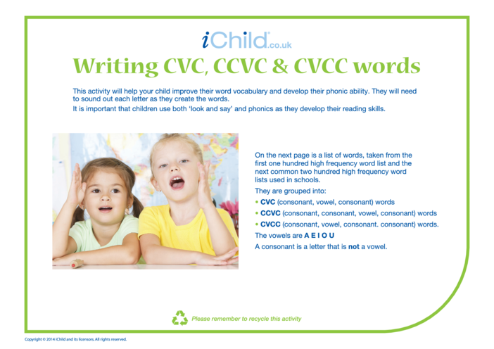 Thumbnail image for the CVC, CCVC & CVCC Words activity.