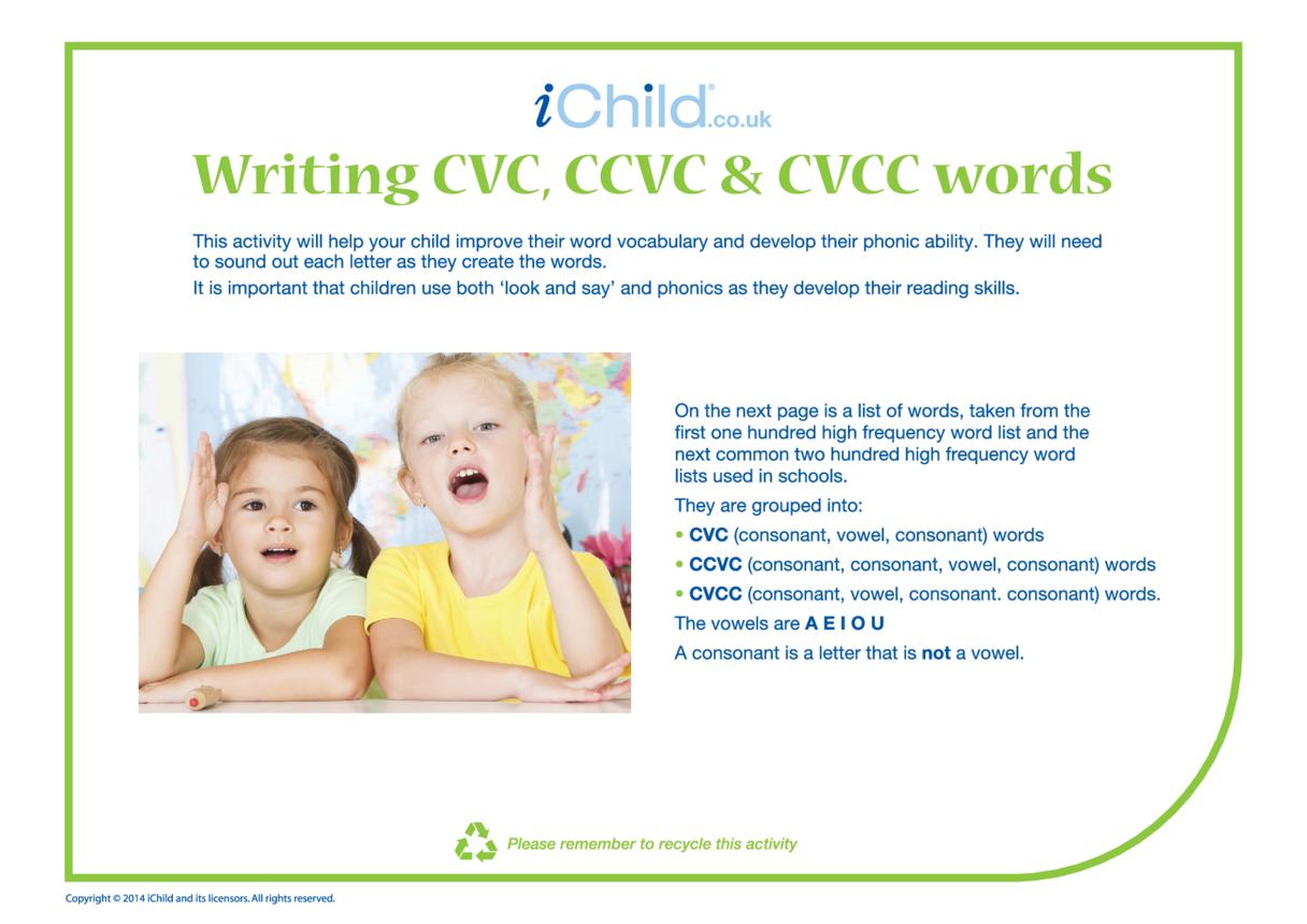 CVC, CCVC & CVCC Words