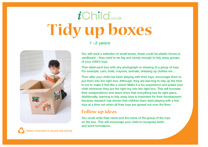 Thumbnail image for the Tidy Up Boxes activity.