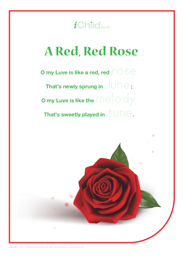 A Red, Red Rose Poem & Handwriting Practice Sheet