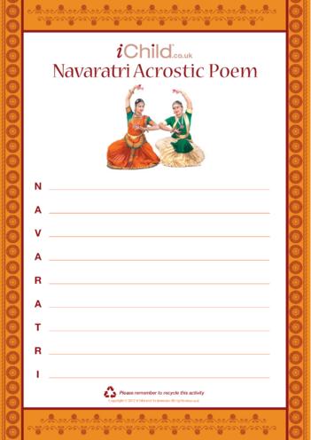 Thumbnail image for the Navaratri Acrostic Poem activity.