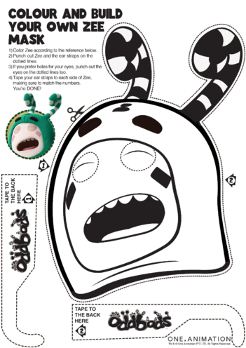Thumbnail image for the Mask Colouring Zee Oddbods activity.